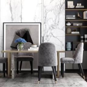 現代餐桌椅3D模型【ID:846536839】
