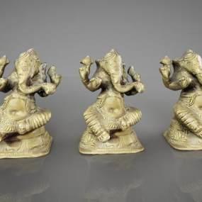 现代大象雕塑摆件3D模型【ID:334496044】