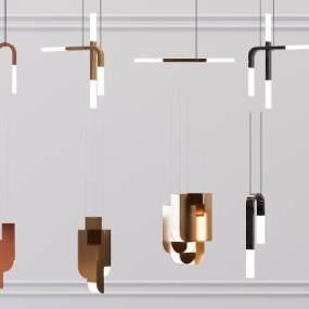 现代金属吊灯3D模型【ID:753438803】
