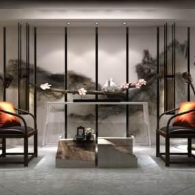 新中式接待室茶室3D模型【ID:630983684】