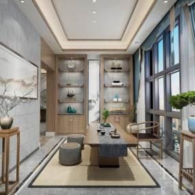 新中式茶室3D模型【ID:644110115】
