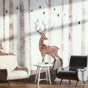现代北欧椅子装饰画组合3D模型【ID:732774000】