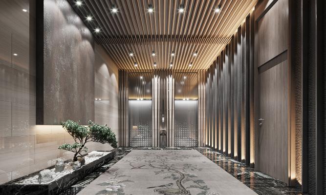 新中式电梯间3D模型【ID:753165615】