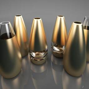现代金属花瓶摆件3D模型【ID:234656540】