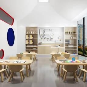 现代幼儿园教室3D模型【ID:950599632】