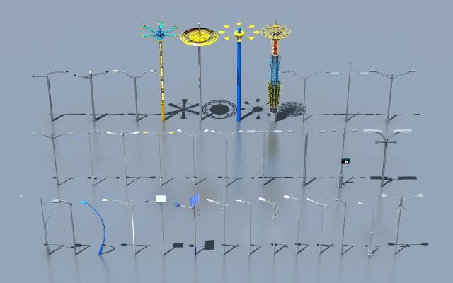 现代公路高杆路灯景观灯3D模型【ID:135389461】