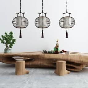 新中式茶室3D模型【ID:951069766】