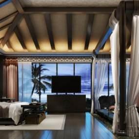 现代酒店客房3D模型【ID:732158369】