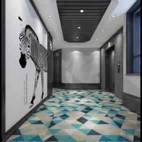 北欧电梯厅3D模型【ID:732745677】