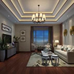新中式客厅3D模型【ID:536027021】