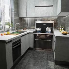 现代厨房3D模型【ID:535256349】