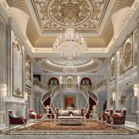 欧式古典客厅3D模型【ID:545704076】