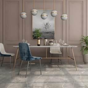 现代餐桌椅组合3D模型【ID:847215899】