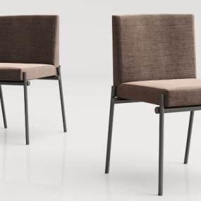 现代实木绒布椅子3D模型【ID:734179187】