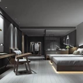 现代酒店客房3D模型【ID:736065395】