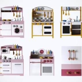 現代兒童實木過家家廚具玩具3D模型【ID:352341489】