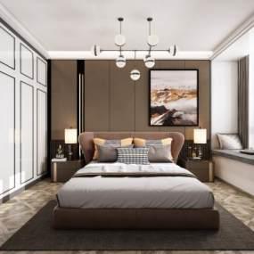 現代輕奢臥室3D模型【ID:549174215】