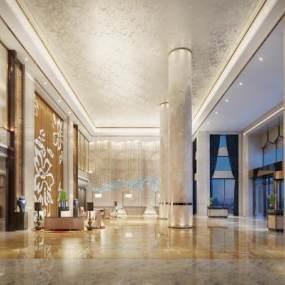 現代奢華酒店大堂3D模型【ID:745848032】