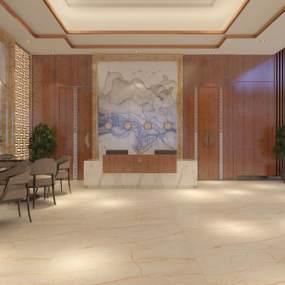 新中式酒店大廳3D模型【ID:747979043】