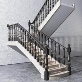 简欧描金实木雕花栏杆楼梯3D模型【ID:353352555】