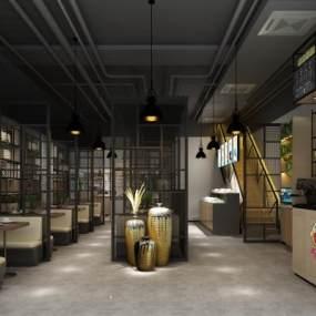 工业风湘菜馆餐厅3D模型【ID:634699236】