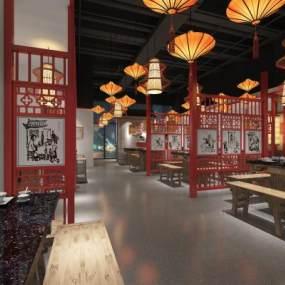 新中式餐厅3D模型【ID:635742278】