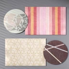 现代地毯圆形地毯粉红地毯孩子地毯3D模型【ID:330591249】