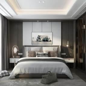 现代轻奢卧室3D模型【ID:553885217】