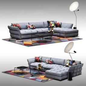现代沙发茶几组合3D模型【ID:632174780】