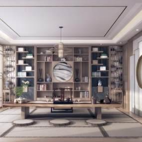 新中式茶室3D模型【ID:634958160】