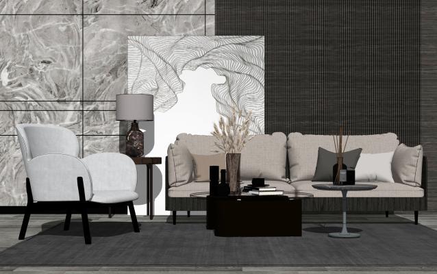 现代沙发茶几组合SU模型【ID:453843130】