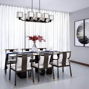 新中式餐桌椅组合3D模型【ID:830651894】