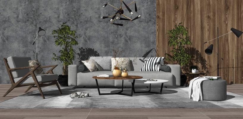 现代风格沙发凳子组合SU模型【ID:452929009】