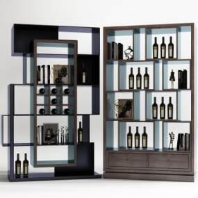 現代酒柜組合3D模型【ID:646944230】