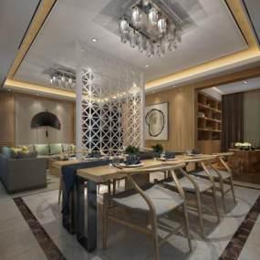 新中式餐厅3D模型【ID:535719134】