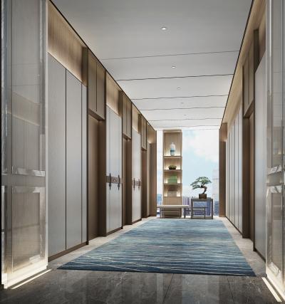 新中式酒店电梯厅3D模型【ID:746348677】