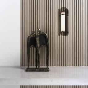 新中式雕塑3D模型【ID:352978168】