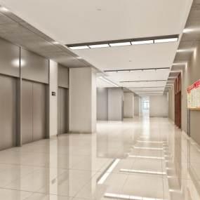 现代简约走廊过道电梯间3D模型【ID:932978579】