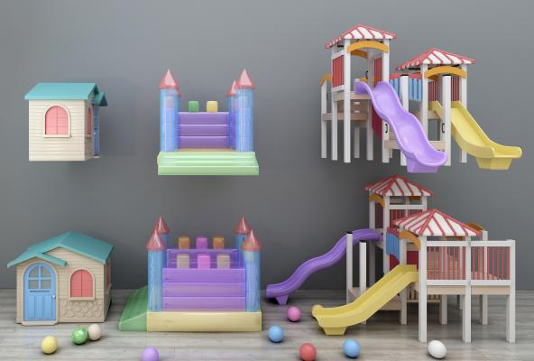 现代儿童滑滑梯蹦蹦床卡通建筑组合游乐设备游乐场3D模型【ID:432179134】