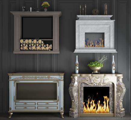 欧式大理石装饰柜电视壁炉组合3D模型【ID:342038656】