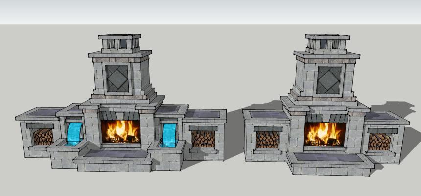 欧式壁炉SU模型【ID:451246424】