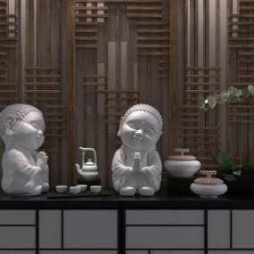 中式雕塑摆件3D模型【ID:231218515】