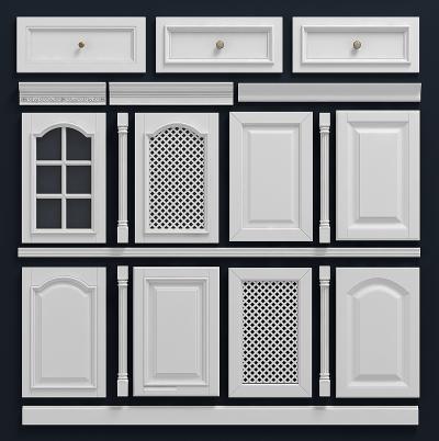 歐式白色柜門門板組合3D模型【ID:130953739】