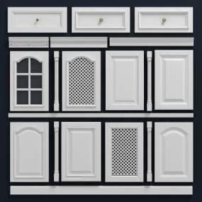欧式白色柜门门板组合3D模型【ID:130953739】