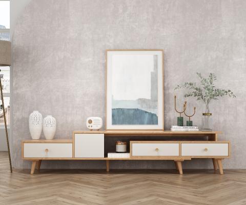北歐实木電視櫃3D模型【ID:951879955】