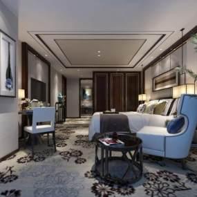 新中式豪华卧室3D模型【ID:733113344】