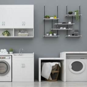 现代滚筒洗衣机阳台洗衣池装饰架组合3D模型【ID:230589600】