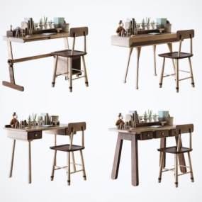 现代北欧实木儿童书桌椅组合3D模型【ID:952579021】