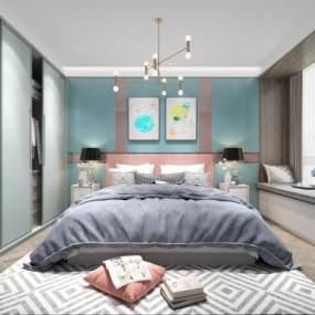 北歐風格臥室3D模型【ID:544152234】