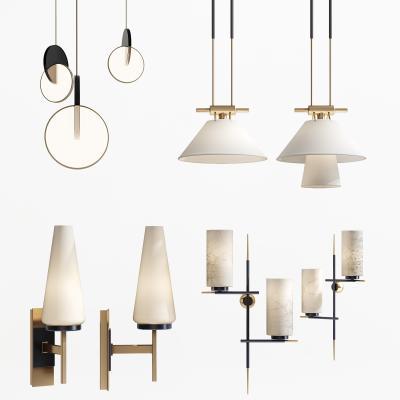 新中式壁燈吊燈組合3D模型【ID:746445941】